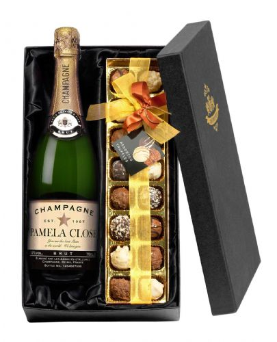Personalised Champagne and Chocolates